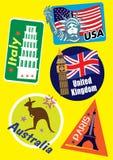 Διαφορετικό σύνολο εικονιδίων ταξιδιού χώρας ελεύθερη απεικόνιση δικαιώματος