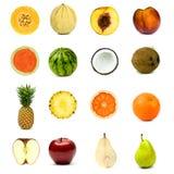 Διαφορετικό σύνολο σύνθεσης φρούτων που απομονώνεται στο λευκό Στοκ φωτογραφία με δικαίωμα ελεύθερης χρήσης