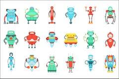 Διαφορετικό χαριτωμένο φανταστικό σύνολο χαρακτήρων ρομπότ Φωτεινό σχέδιο Androids κινούμενων σχεδίων χρώματος παιδαριώδες Απεικόνιση αποθεμάτων