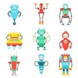 Διαφορετικό χαριτωμένο φανταστικό σύνολο χαρακτήρων ρομπότ Στοκ φωτογραφία με δικαίωμα ελεύθερης χρήσης