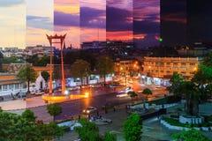 Διαφορετικό χρώμα σκιάς του γιγαντιαίου ορόσημου ταλάντευσης στην πόλη της Μπανγκόκ μέσα Στοκ φωτογραφίες με δικαίωμα ελεύθερης χρήσης