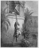 Διαφυγές του Δαβίδ μέσω ενός παραθύρου ελεύθερη απεικόνιση δικαιώματος