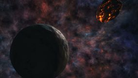 Διαφωνία των πλανητών και asteroid στο σκηνικό του κόσμου Στοκ Εικόνες