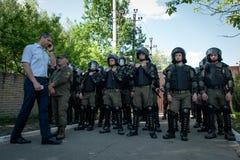 Διαφωνίες μεταξύ Azov του αστικού σώματος με την αστυνομία Στοκ Φωτογραφίες