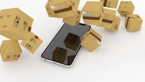 Διαχείριση των διοικητικών μεριμνών ταχυδρομείου μέσω του τηλεφώνου, smartphone η λήψη ενός ταχυδρομείου μεγάλου ποσού διαμοιράζε ελεύθερη απεικόνιση δικαιώματος
