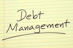 Διαχείριση χρέους σε ένα κίτρινο νομικό μαξιλάρι Στοκ Εικόνα