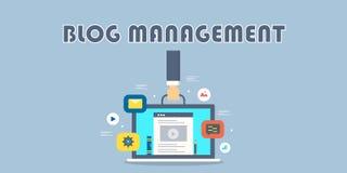 Διαχείριση Blog, cms, ικανοποιημένη διαχείριση, blog θέση, επιτροπή admin, έννοια επιχειρησιακής τεχνολογίας απεικόνιση αποθεμάτων