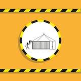 Διαχειριζόμενο εμπορευματοκιβώτιο διάνυσμα εικονιδίων εργαλείων Γραπτό διανυσματικό εικονίδιο σε ένα κίτρινο υπόβαθρο Στοκ εικόνα με δικαίωμα ελεύθερης χρήσης