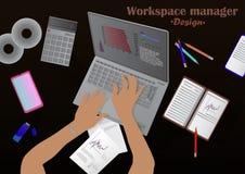 Διαχειριστής χώρου εργασίας απεικόνιση αποθεμάτων