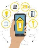 Διαχειριστείτε τα έξυπνα εγχώρια συστήματα με το smartphone σας Επίπεδο ύφος διανυσματική απεικόνιση