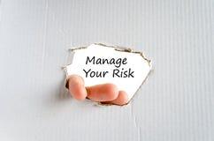 Διαχειριστείτε την έννοια κειμένων κινδύνου σας στοκ εικόνες
