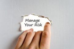 Διαχειριστείτε την έννοια κειμένων κινδύνου σας στοκ φωτογραφία