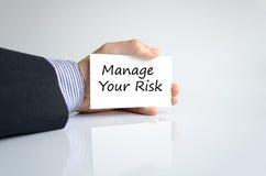 Διαχειριστείτε την έννοια κειμένων κινδύνου σας στοκ εικόνα με δικαίωμα ελεύθερης χρήσης