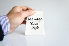 Διαχειριστείτε την έννοια κειμένων κινδύνου σας στοκ εικόνες με δικαίωμα ελεύθερης χρήσης