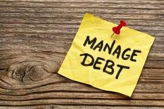 Διαχειριστείτε τη σημείωση υπενθυμίσεων χρέους στοκ εικόνες