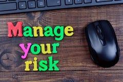 Διαχειριστείτε τις λέξεις κινδύνου σας στον πίνακα στοκ εικόνες με δικαίωμα ελεύθερης χρήσης