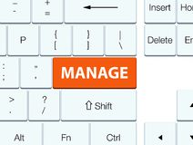Διαχειριστείτε το πορτοκαλί κουμπί πληκτρολογίων ελεύθερη απεικόνιση δικαιώματος