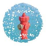 Διαχειριστείτε το σχέδιο πρόληψης πυρκαγιάς σας - κόκκινο στόμιο υδροληψίας πυρκαγιάς ενάντια σε ένα wa στοκ εικόνα