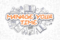 Διαχειριστείτε το χρόνο σας - πορτοκαλί κείμενο Doodle χρυσή ιδιοκτησία βασικών πλήκτρων επιχειρησιακής έννοιας που φθάνει στον ο διανυσματική απεικόνιση