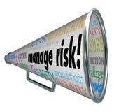 Διαχειριστείτε Megaphone Bullhorn κινδύνου τη συμμόρφωση ευθύνης απώλειας ορίου διανυσματική απεικόνιση