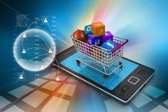 Διαδίκτυο και σε απευθείας σύνδεση έννοια αγορών Στοκ Εικόνα