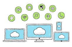 Διαδίκτυο, κοινωνική τεχνολογία, σύγχρονα εικονίδια, Doodle διανυσματική απεικόνιση