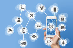 Διαδίκτυο της έννοιας ασφάλειας πραγμάτων που εμφανίζεται στο χέρι που κρατά το σύγχρονο έξυπνο τηλέφωνο με τους συνδεδεμένους αι