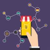 Διαδίκτυο της έννοιας πραγμάτων αγορές εικονιδίων Χέρι που κρατά έναν έξυπνο απεικόνιση αποθεμάτων