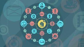 Διαδίκτυο των πραγμάτων και της έξυπνης εγχώριας έννοιας διανυσματική απεικόνιση