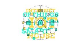 Διαδίκτυο των πραγμάτων και της έξυπνης εγχώριας έννοιας 4K ελεύθερη απεικόνιση δικαιώματος