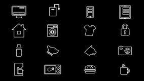 Διαδίκτυο των πραγμάτων και των έξυπνων εγχώριων εικονιδίων 4K απεικόνιση αποθεμάτων