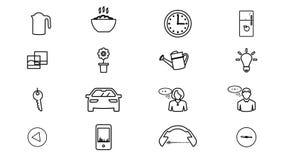 Διαδίκτυο των πραγμάτων και των έξυπνων εγχώριων εικονιδίων 4K ελεύθερη απεικόνιση δικαιώματος