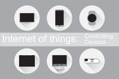 Διαδίκτυο των πραγμάτων που ελέγχουν τα επίπεδα εικονίδια συσκευών Στοκ εικόνα με δικαίωμα ελεύθερης χρήσης