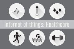 Διαδίκτυο των πραγμάτων, υγειονομική περίθαλψη IoT- Σύνολο 6 επίπεδων εικονιδίων επίσης corel σύρετε το διάνυσμα απεικόνισης Στοκ φωτογραφία με δικαίωμα ελεύθερης χρήσης