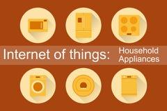 Διαδίκτυο των πραγμάτων, IoT οικιακές συσκευές Στοκ εικόνα με δικαίωμα ελεύθερης χρήσης