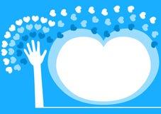 Διαδίδοντας πλαίσιο πρόσκλησης αγάπης χεριών απεικόνιση αποθεμάτων
