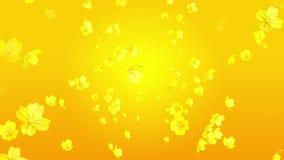 Διαδίδοντας τα τρισδιάστατα κίτρινα κεφάλια λουλουδιών χρώματος - υπόβαθρο κινήσεων απεικόνιση αποθεμάτων