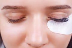 Διαδικασία επέκτασης Eyelash Μάτι γυναικών με τα μακροχρόνια eyelashes Τα μαστίγια, κλείνουν επάνω, επιλεγμένη εστίαση στοκ φωτογραφία