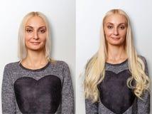 Διαδικασία επεκτάσεων τρίχας Τρίχα πριν και μετά Στοκ Φωτογραφία