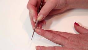 Διαδικασία μανικιούρ στο σαλόνι ομορφιάς απόθεμα βίντεο