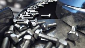 Διαδικασία της παραγωγής των μπουλονιών έννοια βιομηχανική Εξοπλισμός και macine εργοστασίων χάλυβας τρισδιάστατη απόδοση διανυσματική απεικόνιση