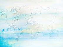 Διαδικασία του συρμένου χέρι έργου τέχνης ζωγραφικής watercolor παγκόσμιων χαρτών Στοκ Εικόνες