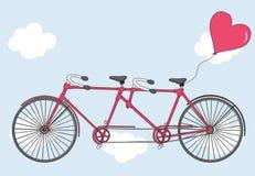 Διαδοχικό ποδήλατο με τα μπαλόνια καρδιών Ασβέστιο χαιρετισμού ημέρας βαλεντίνων ` s Στοκ Εικόνες