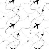 Διαδρομές αερογραμμών με τα αεροπλάνα άσπρο σε άνευ ραφής Στοκ φωτογραφίες με δικαίωμα ελεύθερης χρήσης
