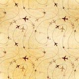 Διαδρομές αερογραμμών, χάρτης σε παλαιό χαρτί, άνευ ραφής σχέδιο Στοκ εικόνα με δικαίωμα ελεύθερης χρήσης