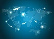Διαδρομές αεροπλάνων στο χάρτη απεικόνιση αποθεμάτων