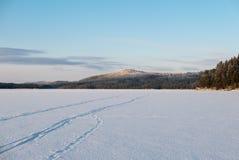 Διαδρομές σκι πέρα από τη λίμνη Στοκ Φωτογραφία