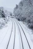 Διαδρομές τραίνων στο χιόνι Στοκ φωτογραφίες με δικαίωμα ελεύθερης χρήσης