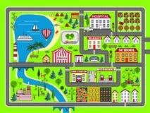 Διαδρομή αυτοκινήτων τοπίων πόλεων Χαλί παιχνιδιού παιδιών διανυσματική απεικόνιση
