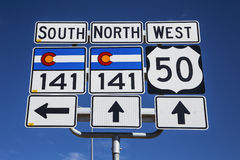 Διαδρομή 141 και διαδρομή 50, νότος του Γκραντ Τζάνκσον, Κολοράντο, ΗΠΑ Στοκ Εικόνες